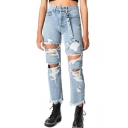 Womens Cool Street Fashion Distressed Ripped Hole Button Ribbon Fringed Hem Straight Light Blue Jeans