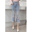Summer New Fashion Lace-Up Raw Edge Blue Flared Jeans Capri Jeans for Women