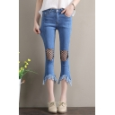 Women's Summer Cool Fishnet Patched Fringed Hem Slim Fit Capri Flared Jeans