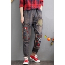 Women's Vintage Floral Embroidered Distressed Casual Loose Jeans