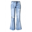 Womens New Fashion Ripped Button-Fly Fringed Hem Blue Slim Fit Flare Jeans