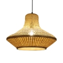 Bamboo and Metal Ceiling Light Fixture Single Light Antique Style Pendant Lamp for Coffee Shop Bedroom