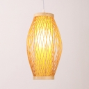Rustic Style Beige Ceiling Light Single Light Rattan Ceiling Fixture for Dining Room Hallway