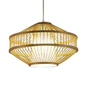 Rustic Style Beige Pendant Lighting Single Light Bamboo Ceiling Light Fixture for Foyer Hallway