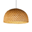Vintage Beige Ceiling Fixture with Dome Shape Single Light Bamboo Pendant Lighting for Kitchen