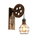 Antique Bronze Caged Wall Light with Wheel Single Light Industrial Metal Suspender Wall Light