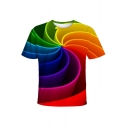 Cool Unique Colorful Paper Whirlpool Printed Short Sleeve T-Shirt