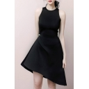 Fashion Designer Pearl Embellished Gathered Waist Solid Color Sleeveless Asymmetrical Dress