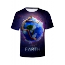 Hot Fashion Purple Galaxy Figure Earth Print Short Sleeve Basic T-Shirt