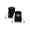 Hot Fashion Galaxy Earth Printed Colorblock Long Sleeve Button Down Varsity Baseball Jacket