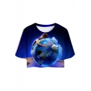 Funny Blue Figure Earth Printed Short Sleeve Round Neck Relaxed Crop T-Shirt