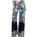 Summer Vintage Tribal Printed High Waist Baggy Wide-Leg Blue Pants for Women