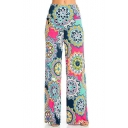 Women's Trendy Paisley Floral Printed Summer Loose Wide-Leg Palazzo Pants