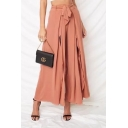 Summer Holiday Boho Style Tied Waist Solid Color Split Front Womens Culotte Pants Wide-Leg Pants