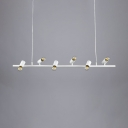 Dining Room Linear Island Fixture Metal 6/8 Lights Vintage Style White Ceiling Lamp