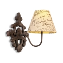 Rustic Style Tapered Shade Wall Lighting Metal and Fabric 1 Light Wall Sconce for Living Room Restaurant