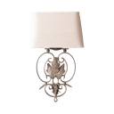Vintage Style Rectangle Wall Light Metal and Linen 1 Light White Sconce Light for Hotel Living Room