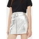Women's Summer Metallic Silver Belted Waist Faux Leather Mini A-Line Skirt