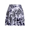 Women's Retro Black and White Newspaper Printed Mini Pleated Skater Skirt