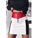 Fashion Colorblock Zipper Fly Summer Mini Bodycon PU Skirt