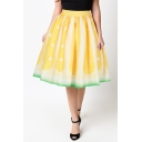 Summer Vintage Fashion Yellow Lemon Ombre Color Trendy Midi Swing Skirt