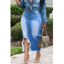 Womens New Fancy Bleached Blue Distressed Cut Slit Side Raw Hem Maxi Bodycon Denim Skirt