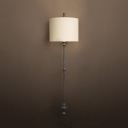 Metal Fabric Drum Shade Sconce Light Dining Room 1 Light Antique Style Sconce Wall Light in Black/Rust