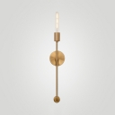 Open Bulb Living Room Sconce Wall Light Metal 1 Light Industrial Wall Lamp in Gold