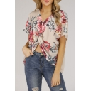 New Fashion V-Neck Short Sleeve Floral Printed Twisted Front Summer Chiffon Tee Top
