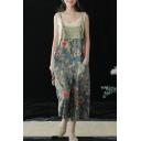 Summer Vintage Blue Floral Printed Cotton Denim Wide Leg Overall Pants Jumpsuits