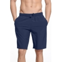 Mens Basic Simple Solid Color Drawstring Waist Quick Drying Swim Trunks