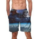 Hot Fashion Blue Galaxy Planet Printed Loose Casual Beach Swim Trunks for Guys