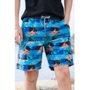 Blue Tropical Plants Printed Guys Beach Quick Dry Swim Shorts with Liner