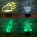 Home Decor 3D Optical Nightlight 7 Color Changing Toy Bear Pattern LED Bedside Light with Touch Sensor for Bedroom