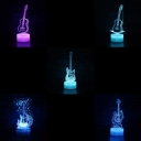Touch Sensor 3D Night Light 7 Color Changing Guitar Pattern Design LED Bedside Lamp with Touch Sensor for Bedroom