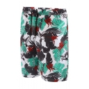 Cool Drawstring Men's Tropical Leaf Print Swim Shorts Trunks with Mesh Lining