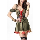 Womens Halloween Game Character Cosplay Costume Green Cold Shoulder Belted Waist Mini A-Line Dress