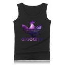 Cool Purple Galaxy Dragon Dracarys Printed Round Neck Sleeveless Summer Tank Top