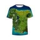 New Stylish Castle Map 3D Printed Blue Short Sleeve T-Shirt