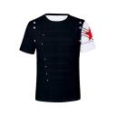 Fashion Star Print Short Sleeve Summer Unisex Navy Casual Tee