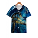 King of the Monsters Cool 3D Printed Short Sleeve V-Neck Button Down Baseball Shirt in Blue