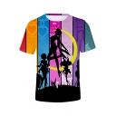 New Stylish Colorblock Striped Sailor Moon Comic Girl Round Neck T-Shirt