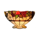 Glass Bowl Shape Sconce Wall Light Bedroom Foyer 1 Light Hand Made Tiffany Style Wall Lamp with Fruit Pattern
