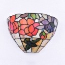 Flower and Bird Pattern Wall Lamp Glass Single Light Tiffany Style Antique Sconce Light with Multi Color