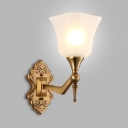 1/2 Lights Bell Sconce Light Elegant Style Metal Frosted Glass Wall Lamp in Brass for Restaurant
