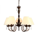 5 Lights Metal Fabric Chandelier Vintage Style 5 Color Choice Tapered Shade Light Fixture for Living Room