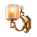 Antique Style Wall Light with Cylinder Shade 1 Light Clear Glass Metal Sconce Lamp with Crystal Decoration for Living Room
