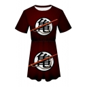 Fashion Turtle Character Printed Round Neck Short Sleeve Mini A-Line Pleated T-Shirt Dress in Burgundy