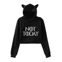 Popular Simple Letter NOT TODAY Cute Cat Ear Hooded Long Sleeve Cropped Hoodie