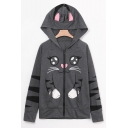 Hot Fashion Lovely Cartoon Cat Printed Full Zip Front Cat Ear Grey Hoodie for Girls